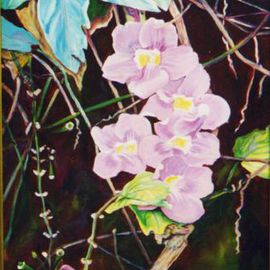Caren Keyser Artwork Vines, 1992 Acrylic Painting, Floral