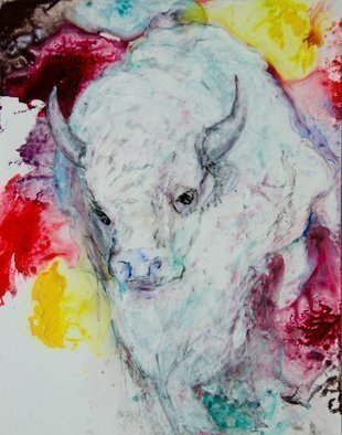 Caren Keyser: 'White Buffalo', 2017 Acrylic Painting, Animals. The powerful White Buffalo appears among splashes of color from which it has been created.  The painting is acrylic on Yupo, a synthetic paper.  Its slick surface is broken by thick applications ofcolor and texture.  A gloss finish coats the entire image. ...