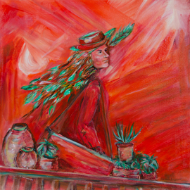 Caren Keyser: 'Wildacres Woman', 2017 Acrylic Painting, Abstract Figurative. Artist Description: This artist is heading with her portfolio to the Wildacres Art Retreat in the North Carolina mountains.  Feathers stream from her hair as she hurries along.  Acrylic on stretched canvas with a glossy finish. ...