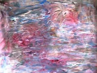 Caren Keyser: 'blood in the water', 2015 Acrylic Painting, Abstract Figurative. Artist Description: The victim has drowned.  Her face barely shows above the surface of the water.  It is a troubling image but suited to the number of serial killer novels I tend to read.  The subconscious shows itself in art. ...