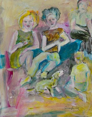 Caren Keyser: 'family room', 2017 Acrylic Painting, Abstract Figurative. Artist Description: This family is gathered in the living room or family room.  The boy and the dog are playing on the floor.  The mustached man sits off to the side in his chair while the two women talk on the sofa.  ...