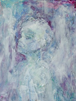 Caren Keyser: 'hopeful gaze', 2018 Acrylic Painting, Abstract Figurative. Artist Description: This young man is gazing hopefully ahead and upward. He is painted loosely in shades of blue, violet and white with some texture from the brushwork. The painting is acrylic on Yupo synthetic paper with a high gloss varnish finish. The image has evolved intuitively as the paint ...
