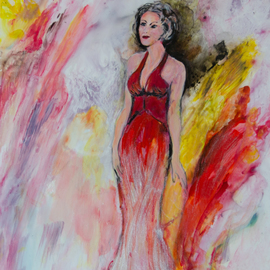 Caren Keyser Artwork iridescent gown, 2017 Acrylic Painting, Figurative