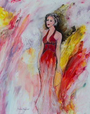Caren Keyser: 'iridescent gown', 2017 Acrylic Painting, Figurative. This is a glamorous painting of a beautiful woman wearing an evening gown. Iridescent medium has been incorporated into the bottom of the red gown and also lightly in the background before The final gloss coating was applied. ...