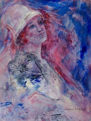 Caren Keyser: 'lady in a white hat', 2017 Acrylic Painting, Abstract Figurative. Artist Description: This painting evolved from the white hat I found in my first application of paint.  She melts into the bold red and blue of the background with a somewhat sad expression on her face. ...