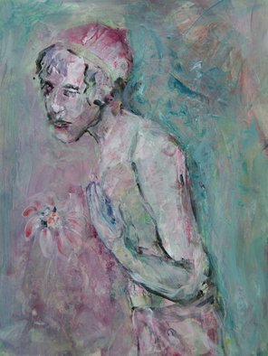 Caren Keyser: 'observer', 2017 Acrylic Painting, Abstract Figurative. Artist Description: The strange figure seems to be observing a flower that has caught his eye. He wears a hat but only a towel.  The flower seems to please him. ...