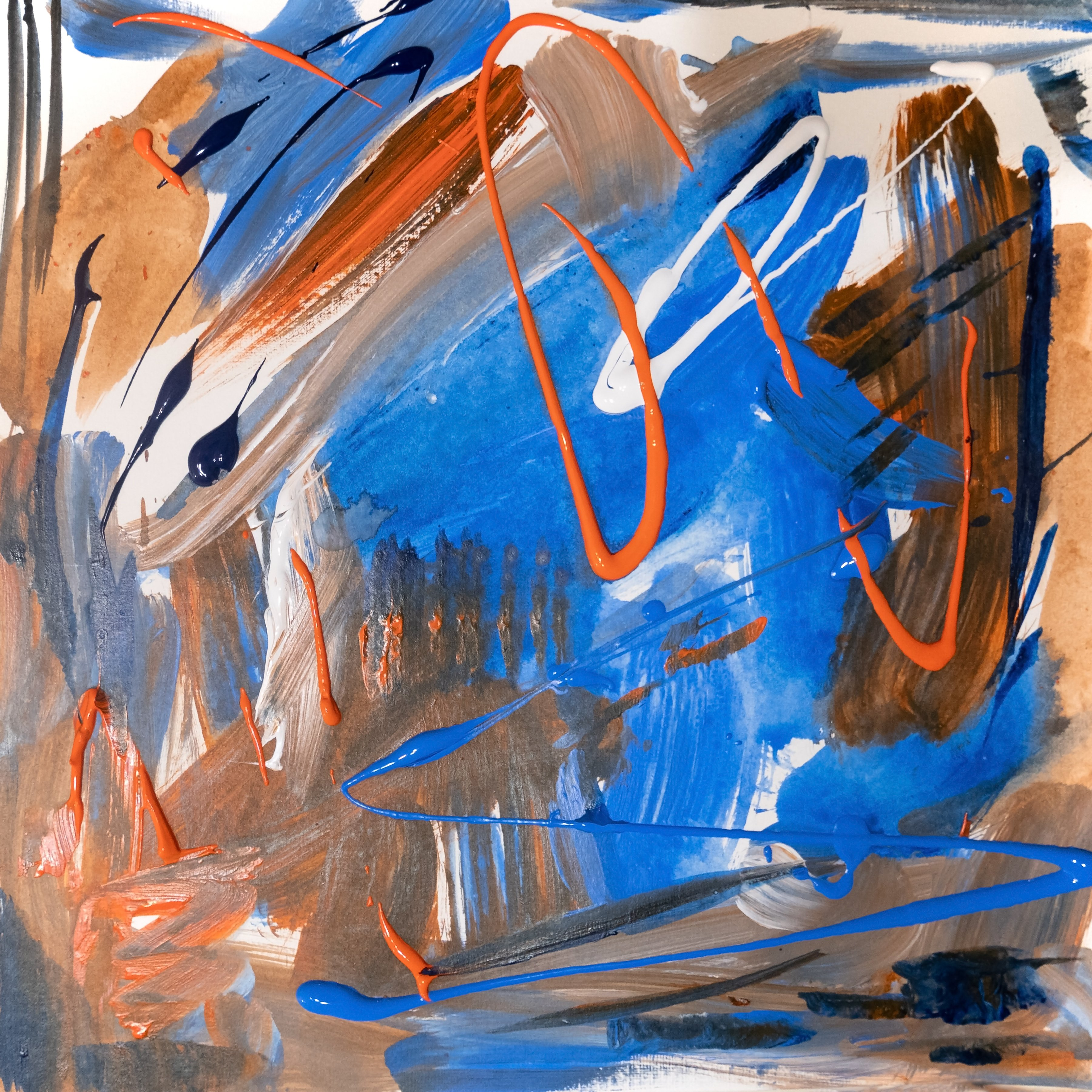 Caren Keyser: 'orange and blue', 2020 Acrylic Painting, Abstract. This is a square abstract with a limited palette of orange and two blues.  The mix created beautiful beige neutrals.  Orange and Blue were my high school colors. ...