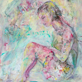 Caren Keyser: 'pensive', 2018 Acrylic Painting, Figurative. Artist Description: This girl in a short flirty skirt is sitting on a bench with her feet up looking very pensive. Her thoughts have drifted away. ...