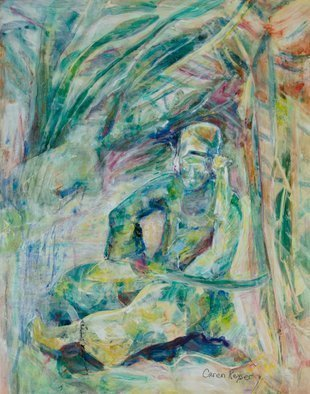 Caren Keyser: 'swordsman', 2019 Acrylic Painting, Abstract Figurative. Artist Description: This swordsman sits with his sword across his lap.  He seems to be in a jungle setting with trees and water surrounding him.  His clothing is likely made of satin and he wears golden slippers.  The painting contains metallic paints in places which complement the demeanor of the ...