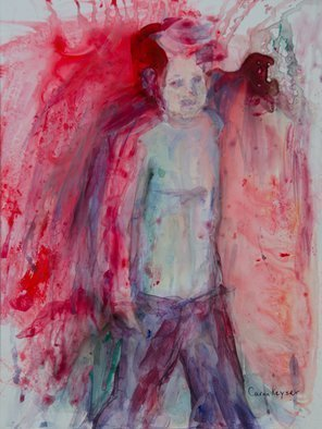 Caren Keyser: 'the boy', 2017 Acrylic Painting, Abstract Figurative. Artist Description: I painted The Boy shortly after the Trump inauguration.  Barron was a very interesting boy walking along in the parade.  This painting reminds me of him but is not meant to be him.  It is acrylic on Yupo, a slick synthetic paper. ...