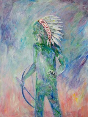 Caren Keyser: 'the boy who would be chief', 2018 Acrylic Painting, Abstract Figurative. Artist Description: This large painting silhouettes a boy in an indian headress holding a bow an arrow. Loose brushwork surrounds him an is him. ...