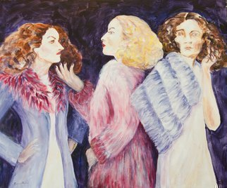Caren Keyser: 'three rich bitches', 2013 Acrylic Painting, Figurative. Three ladies of high fashion display their emotions in this painting. Each has her own expression adding to the story of these Three Rich Bitches. The angry redhead, the superior snob of a blonde and the self absorbed brunette each tell their own story as they interact in this scene. ...