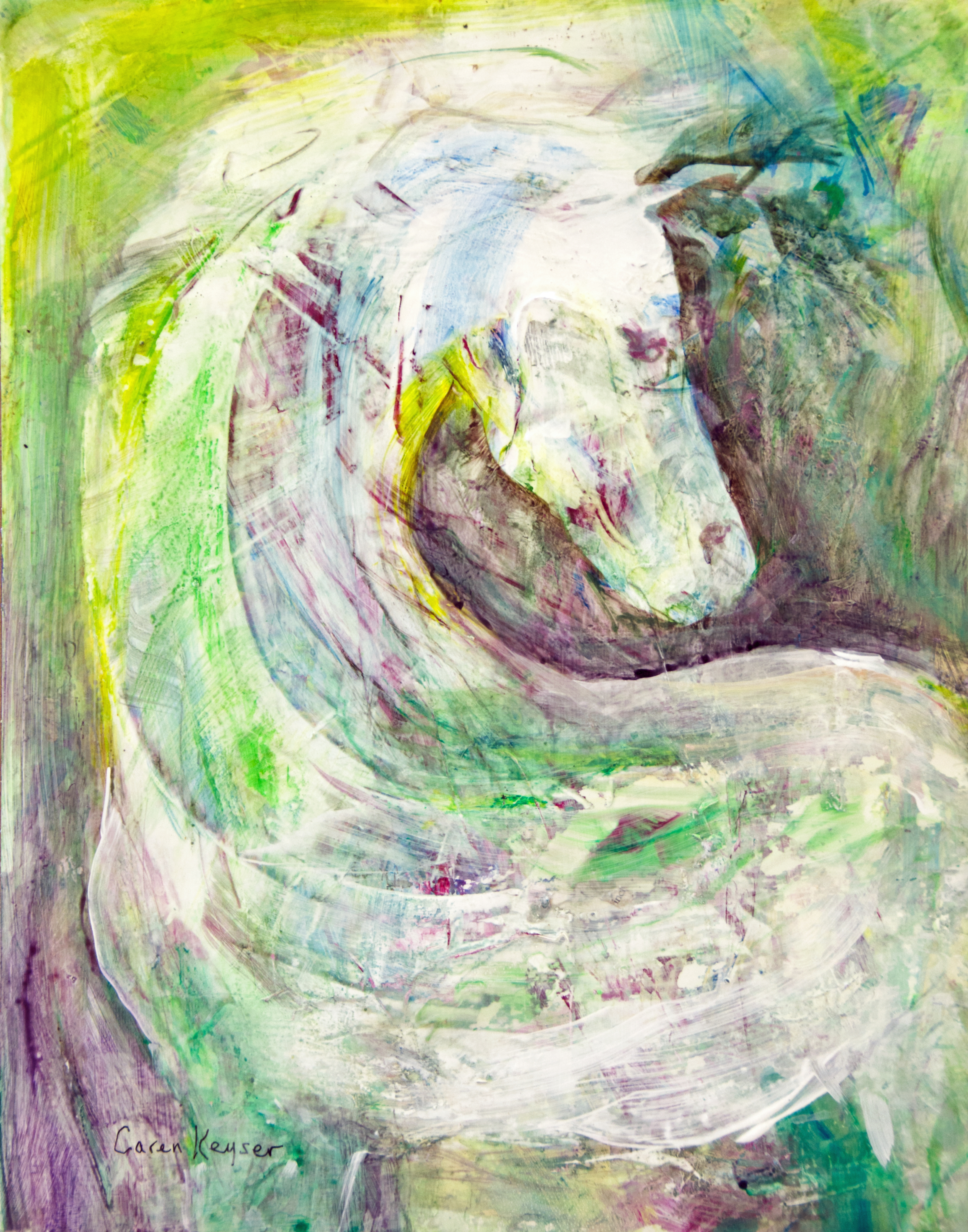 White Horse Acrylic Painting By Caren Keyser Absolutearts Com