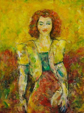 Caren Keyser: 'yellow jacket', 2018 Acrylic Painting, Abstract Figurative. Artist Description: This painting has grown out of many many layers of acrylic paint. The woman is wearing a yellow jacket with padded shoulders and carrying a clutch purse. Her red hair is in brilliant contrast to the yellow energetic background. The lower red background abounds with interesting brush work ...