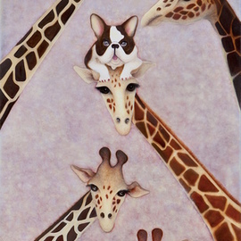 French bulldog on a giraffe s head By Claire Petit