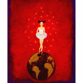 Claire Petit: 'Wait and See', 2010 Oil Painting, Children. Artist Description: Oil painting, canvas, ballerina, planet, red, or limited deluxe art print signed and numbered reproduction  comes with a Certificate of Authenticity  two size...