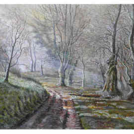 Chris Clarke Artwork Selworthy woods, 2011 Acrylic Painting, Trees