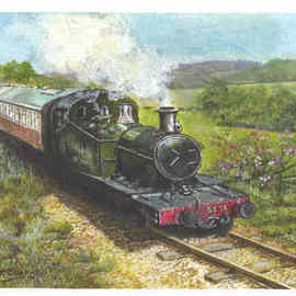 Chris Clarke: 'West somerset railway', 2011 Acrylic Painting, Trains. Artist Description:   Trains/ locomotives/ engines/ steam/ steam trains/ iron horse/ rails/ railways/ carriages/ stations/ smoke/ coal/ west somerset railway/ railways/ tickets/ drivers/ art/ artist/ paintings/ originals/ prints/ kids/ countryside/ canvas art/ pallett/ oils/ acrylic/ water colour/ uk/ english railway/ great western/ bristish rail/ privately owned/ gifts/ shops/ china/ crats/ art ...