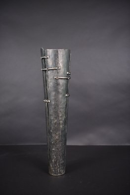 Claudio Bottero: 'elementi legati', 2010 Steel Sculpture, Abstract. Artist Description: This piece can be a sculpture in it s own right, but it can also be made into a vase for dried flowers or with a glass insert for cut flowers. It can also be used as an umbrella or walking stick holder. ...