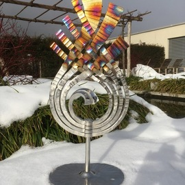 Claudio Bottero: 'fiamma', 2018 Steel Sculpture, Abstract. Artist Description: A unique piece that was inspired by the beauty of fire. The piece is coloured using heat after the Stainless steel has been electro polished. It is suitable for outside. ...