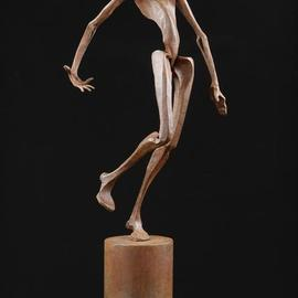 Claudio Bottero: 'indovino', 2011 Steel Sculpture, Abstract Figurative. Artist Description: This figurative piece has been left to rust and then lacquered.  Full of charm, a very graceful piece. ...
