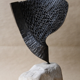 Claudio Bottero: 'nebulosa', 2002 Steel Sculpture, Abstract. Artist Description: A unique piece, with a technique that I have a few times in creating a rippled effect. It s a stunning piece that fit s well in most settings. ...