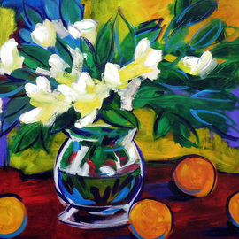 Clayton Jerome Singleton: 'Blue Leaf Daffodils', 2010 Acrylic Painting, Floral. Artist Description:  Acrylic on Board still life, art, painting, drawing, contemporary, paintings, drawings, portrait, painters, buy art, original, canvas paintings, modern art, ballerina, dance, girl, cute, blue, square, small, ready to hang, art works, famous art, curate create, clayton singleton, art dealers, sell art, movement  ...