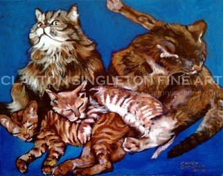 Cats Acrylic Painting by Clayton Jerome Singleton Title: People with Cats Understand How Difficult it is to Take a Family Portrait, created in 2010