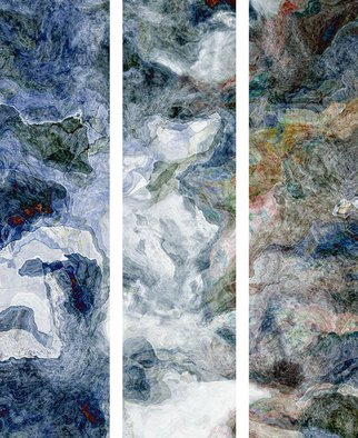 Cheryl Hrudka: '9601a van goghs cascade', 2020 Digital Art, Abstract. I work with the computer and my drawing tablet to create my abstracts. My process is one that includes my emotions at the time. This piece is actually 3 separate panels. Each panel is 60x15 inches and is ready to hang. ...