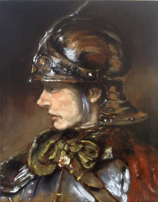 Colin Mark Mowat: 'woman in armour', 2019 Oil Painting, Portrait. This is a small study painting a woman in armour, in the style of by Rembrandt Van RijnInspired by one of the great masters Rembrandt, i have been driven of late to progress my method of oil painting by studying some of my classic art heros.  In my journey to ...