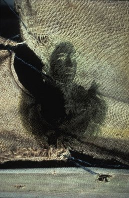 Claudia Nierman: 'Whispers on jute', 1995 Cibachrome Photograph, Fantasy.  Part of a Series on phantoms.This image is also available printed on canvas 57 x 80; and in cibachrom 32x 45. ...