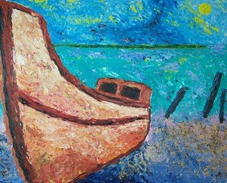 Landscape Acrylic Painting by Ted Hammer Title: Happy Boat, created in 2008
