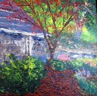 Landscape Acrylic Painting by Ted Hammer Title: Red Blossoms, created in 2008
