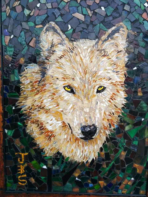 Image of: Wolf Wolf Mosaic Absoluteartscom Joseph And Sons Mosaics Artwork Wolf Mosaic Original Mosaic