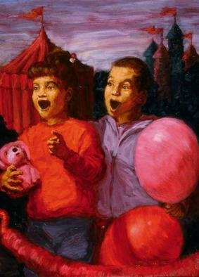Lucille Coleman: 'Carnival', 2003 Oil Painting, Children. A colorful scene of children surprised at a carnival but the viewer doesnknow what surprises them.A(c) 2003 Lucille Coleman...