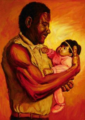 Lucille Coleman Artwork Daddys Baby Girl, 2003 Oil Painting, Family