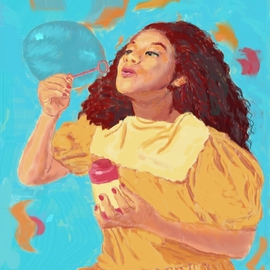 Girl Blowing Bubble, Lucille Coleman