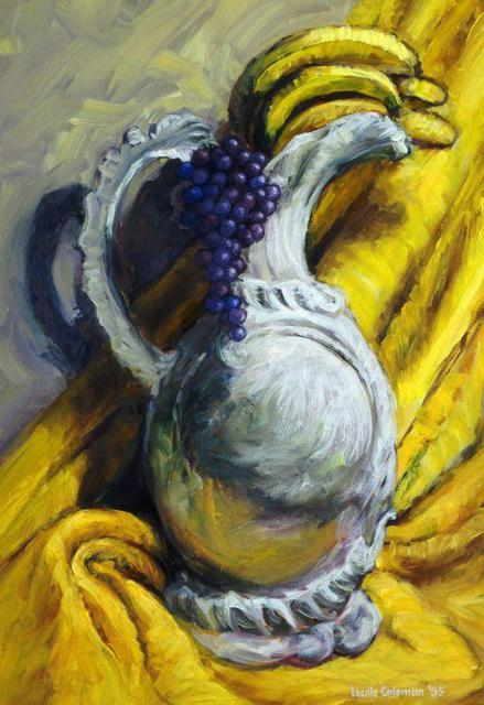 Artist Lucille Coleman. 'Grapes Bananas Vase Still Life' Artwork Image, Created in 2003, Original Drawing Pencil. #art #artist