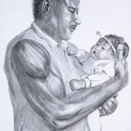 Lucille Coleman Artwork Graphite Daddys Baby Girl, 2003 Pencil Drawing, Family