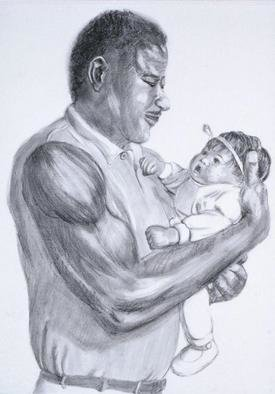 Lucille Coleman: 'Graphite Daddys Baby Girl', 2003 Pencil Drawing, Family. A(c) 2003 Lucille Coleman...