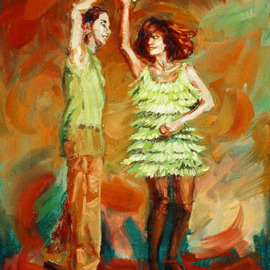 Lucille Coleman: 'Green Spinner', 2006 Oil Painting, Figurative. Artist Description: Salsa Dance Painting from mySMALL WORKS SERIES.Also See paintings Drop and Jumpstreet in the small works series. ...