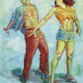 Lucille Coleman: 'Jumpstreet', 2006 Oil Painting, Figurative. Artist Description:  Hip Hop Jazz Dancing - from my small works series.  ...