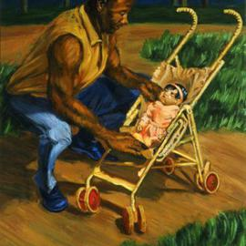 Man Tending Baby By Lucille Coleman