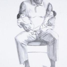 Lucille Coleman Artwork Man and Two Babes, 2003 Pencil Drawing, Family