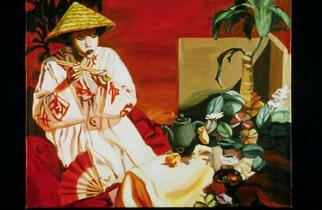 Lucille Coleman Artwork Oriental Still Life and Figure, 2003 Oil Painting, Figurative