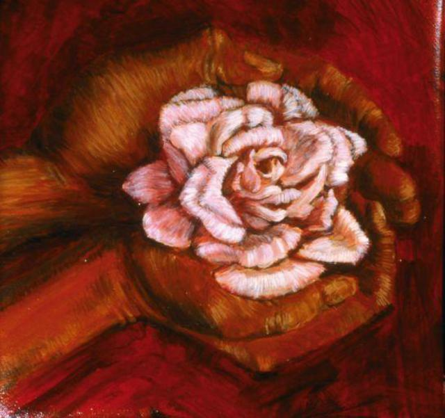 Artist Lucille Coleman. 'Roses In Hand' Artwork Image, Created in 2003, Original Drawing Pencil. #art #artist