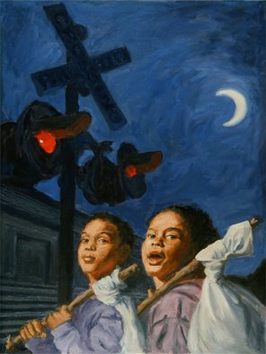 Lucille Coleman: 'Runaways', 2011 Oil Painting, Children.  This is an original oil painting of a dream I had of hopping a train and running away to throw caution to the wind. I would go to who knows where to do who knows what when I hear the sound of a train but I put two children in...