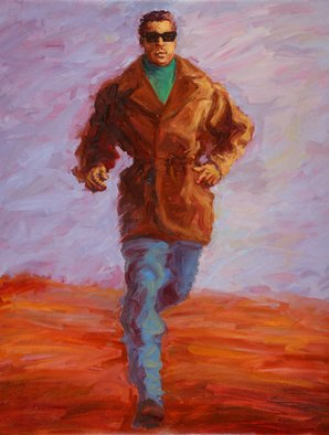 Lucille Coleman: 'Running Man', 2011 Oil Painting, Figurative.  This is an original oil painting of a man running. It is meant for the viewer to ask questions and glean what they will from the energy emanating from the man running. This artwork is also a greeting card and bookmark under the theme of love with an established greeting...