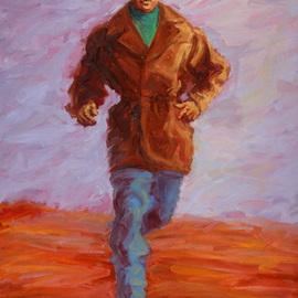 Lucille Coleman: 'Running Man', 2011 Oil Painting, Figurative. Artist Description:  This is an original oil painting of a man running. It is meant for the viewer to ask questions and glean what they will from the energy emanating from the man running. This artwork is also a greeting card and bookmark under the theme of love with an ...