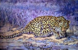 Wildlife Oil Painting by Sonja Grobler titled: Leopard Contrast , created in 2013